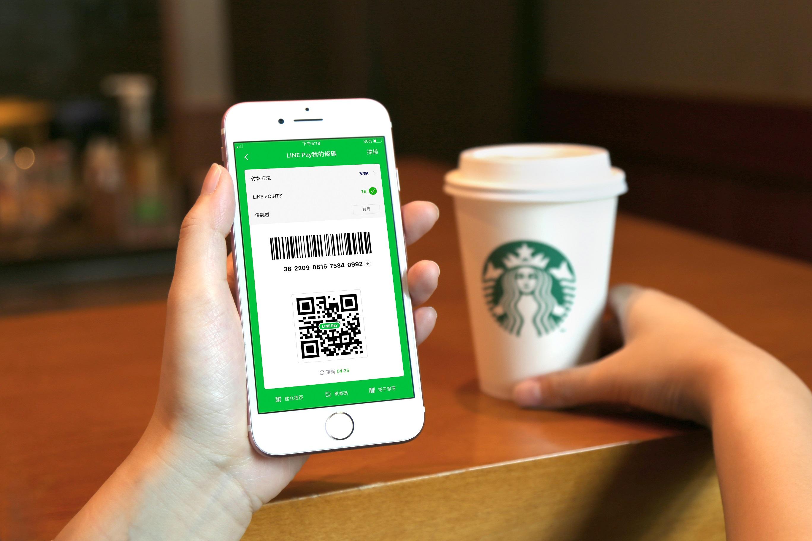 LINE Pay 攜手星巴克 即日起門市可透過 LINE Pay「我的條碼」結帳付款了! 期間限定推出上看 LINE POINTS 25%超好康回饋